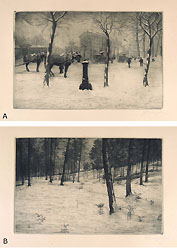 GUGLIELMO BALDASSINI, Landscapes under the snow, a pair of etchings