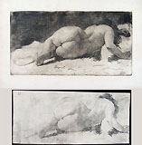ERNESTO BAZZARO, Female Nude Lying, etching, a fine impression and a working proof