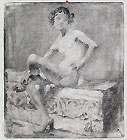 ERNESTO BAZZARO, Nude Boy Seated, etching, working proof