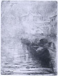 ERNESTO BAZZARO, A View of the Darsena in Milan, etching, earlier state