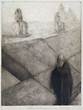 ERNESTO BAZZARO, Monumentum, etching and aquatint, a touched proof