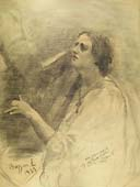 ERNESTO BAZZARO, The Harp Player, black chalk