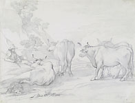 GIUSEPPE BEZZUOLI, A Shepherd and his cattle, black chalk