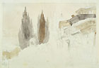 CESARE BISEO, A Middle Eastern Town, black chalk and wash