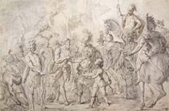 Bolognese Artist, 18th century, Ancient Soldiers, black chalk and wash