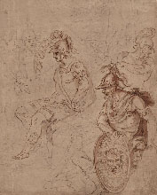 Bolognese Artist, Study of Ancient Soldiers, pen, brown ink, washed in brown and grey, over paper prepared in beige