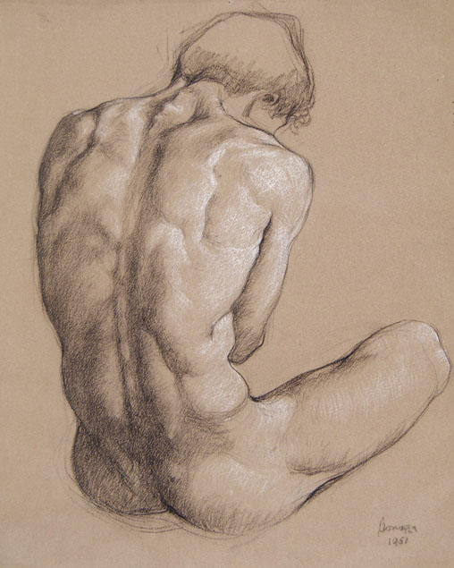 Luigi Bonazza, seated male nude seen from the rear