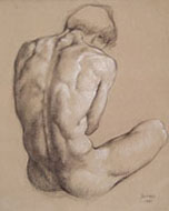 LUIGI BONAZZA, Seated Male Nude Seen from the Rear, black chalk, heightened with white