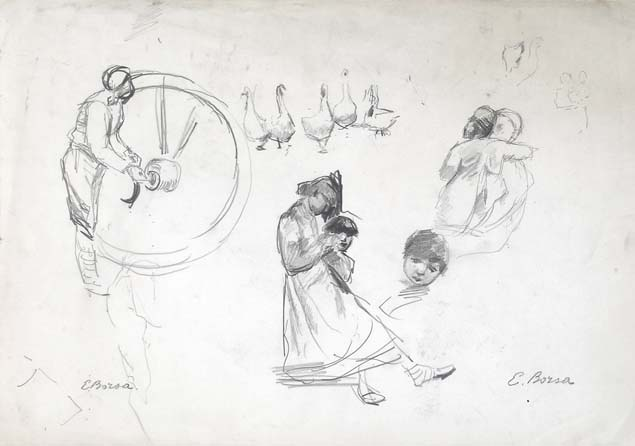 Emilio Borsa, studies of figures