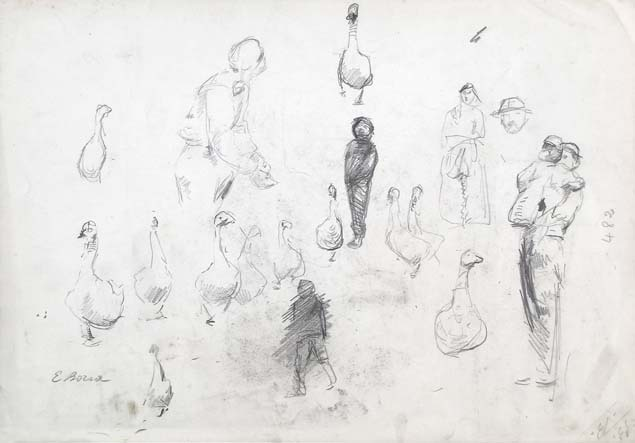 Emilio Borsa, studies of figures, verso
