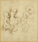 GIUSEPPE BOSSI, Two Studies for a Woman holding a Baby, pen