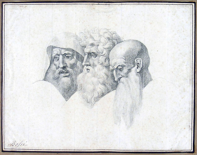 Giuseppe Bossi, three bearded heads