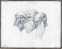 GIUSEPPE BOSSI, Three Bearded Heads, black chalk