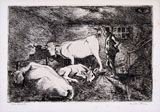 CINO BOZZETTI, Visiting the stable in the night, etching