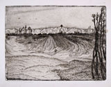 CINO BOZZETTI, The fields devasted by the flood, etching