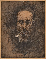 ANSELMO BUCCI, Portrait of the Painter Pirola, soft ground etching
