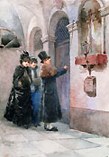 GIACOMO CAMPI, People at the Door of a House, watercolour
