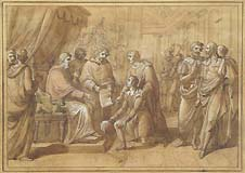 VINCENZO CAMUCCINI (attr. to), Bramante, Raphael and the Pope Julius II, pen, wash, heightened with white