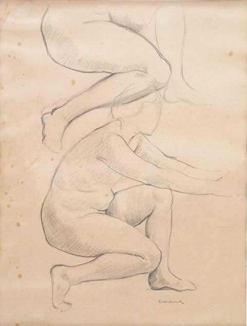 Felice Carena, two studies of a female nude crouched