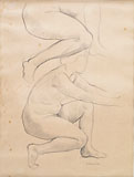 FELICE CARENA, Studies of a Female Nude Crouched, black chalk