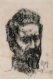 ALDO CARPI, Portrait of Cesare Battisti, black chalk