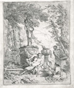 GIOVANNI BENEDETTO CASTIGLIONE, Bacchanal before a Herm of Pan, etching, first state, before de Rossi address
