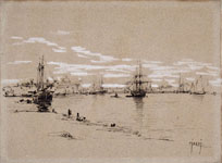 GUGLIELMO CIARDI, Sailing Ships in the Venetian Lagoon, pen, heightened with white