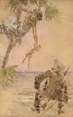 LUIGI CONCONI, THe Original Watercolour for the cover of the Novel Port-Tarascone, by Alphonse Daudet, watercolour
