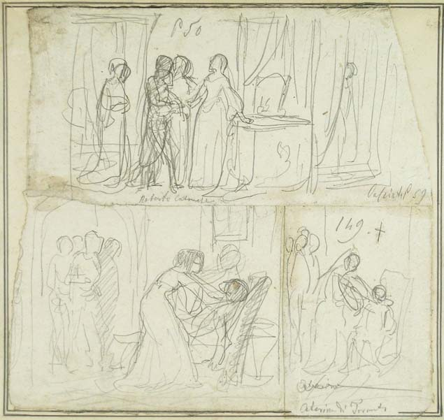 Cherubino Cornienti, compositional sketches