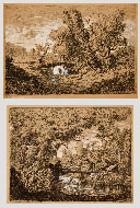 HERMANN CORRODI, Landscapes with Streams, etchings heightened with white