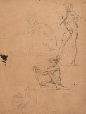 NINO COSTA, Studies of Young Male Nudes, black chalk.