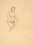 NINO COSTA, Female Nude kneeling, black chalk