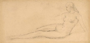 NINO COSTA, Study of Female Nude reclining, black chalk; a preparatory study for the painting Leda (1900)