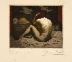 BRUNO CROATTO, Female Nude, etching printed in colourk