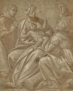 GIOVANNI BATTISTA DELLA ROVERE called IL FIAMMENGHINO, the Virgin with the Child and Saints in Adoration, 1881, black chalk