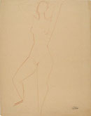 ANDRE' DERAIN, Standing Female Nude, red chalk