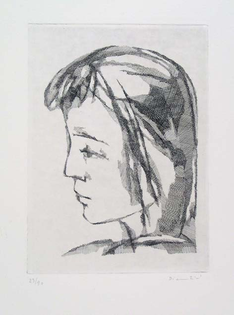 Fiorella Diamantini, portrait of Letizia, etching