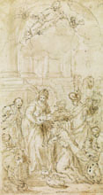 GIUSEPPE DIAMANTINI, The Adoration of the Magi, pen and brown ink, washed in brown