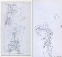 MARCELLO DUDOVICH, Studies for Advertising Posters, black chalk