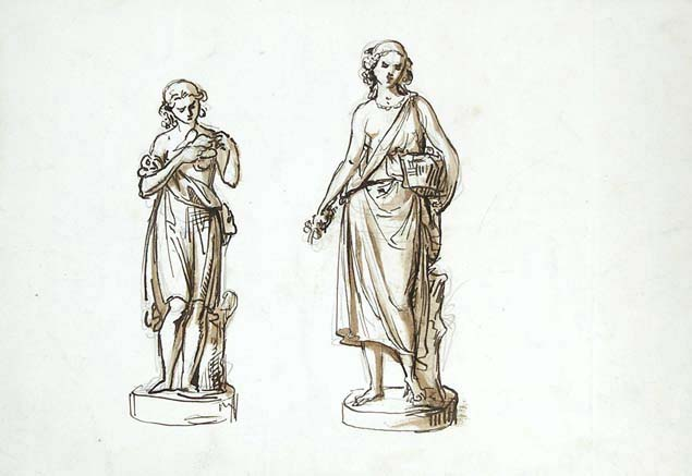 Giovanni Duprè, sketch of two sculptures