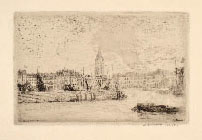 JAMES ENSOR, View of Ostend to the East, etching