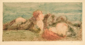 ADOLFO FERAGUTTI VISCONTI, Two Young Women Laying down, etching, drypoint, monotype