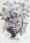 LEANOR FINI, Female Head, pen and watercolour