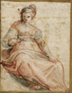 Anonymous Artist, 16th century , Female Figure, black and red chalk