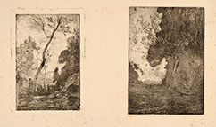 ANTONIO FONTANESI, Two etchings printed on the same sheet by Luigi Conconi