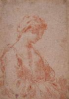UBALDO GANDOLFI, Young Girl in Profile, red chalk, a preparatory study for the painting St. Nicholas of Tolentino Shows the Cross