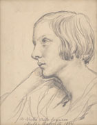 VINCENZO GEMITO, Portrait of a Young Woman in profile, 1923, black chalk