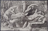 GIORGIO GHISI, Silenus, a Satyr and a Goat, engraving
