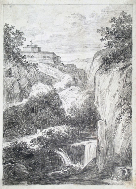Felice Giani, landscape with waterfall