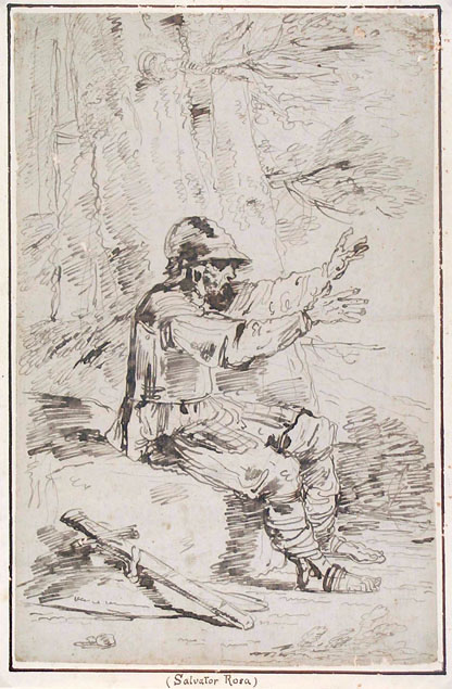Felice Giani, an armed man seated on a rock
